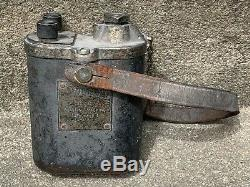 Antique Coal Mining Dupont 10 Cap Blasting Machine with Leather Strap & Chain