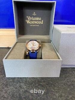 Ladies Vivienne WestWood Time Machine Watch Rose Gold Blue Strap, Boxed